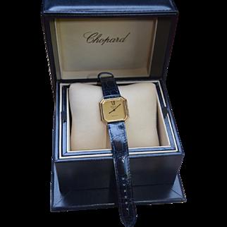 Gold 18K Chopard / Tiffany Deco Style Tank Watch Crocodile Leather Band