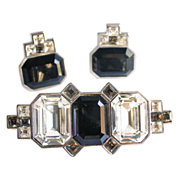 Art Deco Style YSL Black Faceted Glass Set