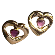 Yves SAINT LAURENT 10kt Gold Plate French Amethyst Glass Heart Earrings