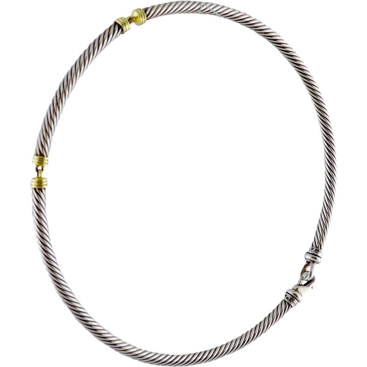 Classic Yurman Sterling Silver 14K Gold Segmented Cable Necklace