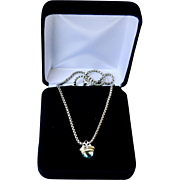 Acorn Style Blue Topaz 14K Gold Sterling Pendant Necklace