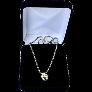 Acorn Style Blue Topaz 14K Gold Sterling Pendant Necklace