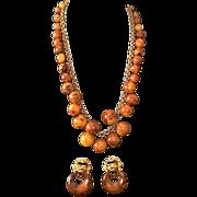 Kenneth Jay Lane Faux Tortoise Bauble Necklace & Earrings