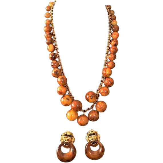 Kenneth Jay Lane Faux Tortoise Bauble Necklace & Earrings