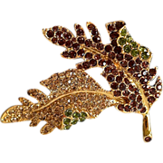 Large Kenneth Jay Lane Encrusted Maple Leaf Crystal Brooch