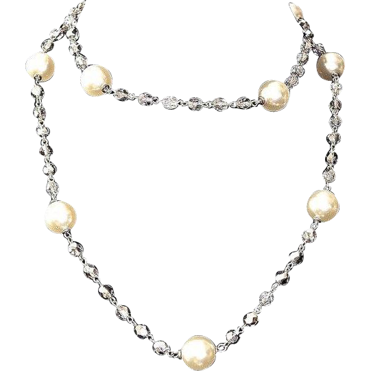 Kenneth Jay Lane Evening Crystal Faux-Pearl Lariat Necklace
