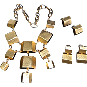 Kenneth Jay Lane Modernist 10K Gold Plate Cube Bib Necklace Set