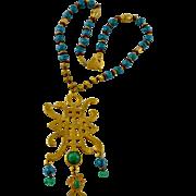 Vintage Hand-Painted Chinese Multi-Beaded Artisan Tassel Pendant Necklace