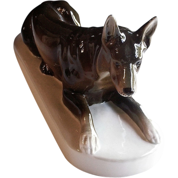 ROYAL DUX Fine Porcelain Large German Shepard Figurine Hallmarked