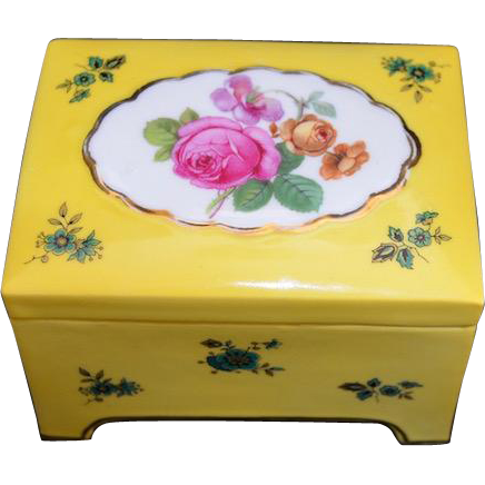 Vintage Floral Painted Porcelain Trinket Box