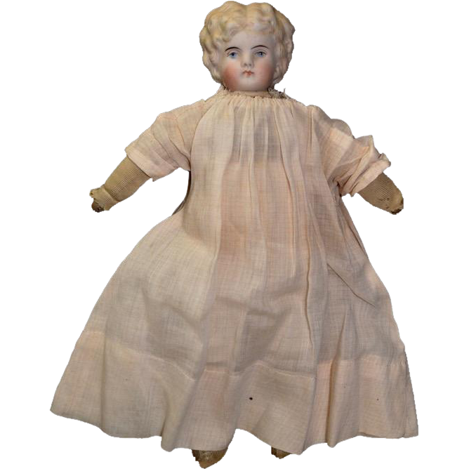 Vintage German Parian Bisque And Cloth Doll
