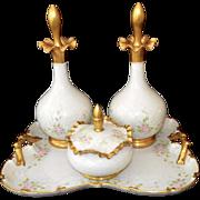 Hand Painted Floral Roses Porcelain 22K Gold Vanity Dresser Set