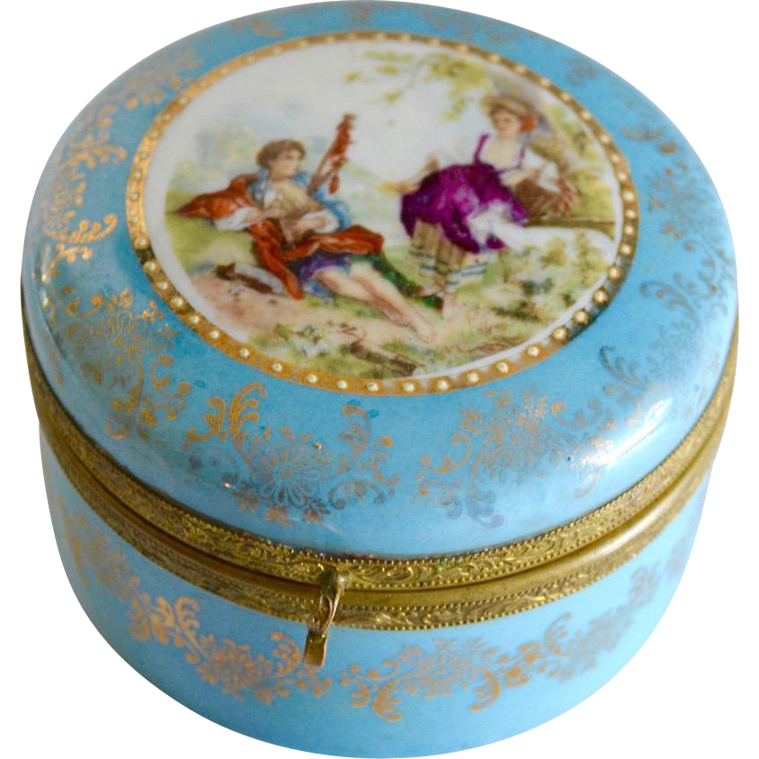Vintage Hand Painted Porcelain Dresser Jar Victorian Courting Design Germany