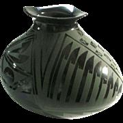 Case Grandes Black Green Burnished Casa Grandes Geometric Pottery Signed