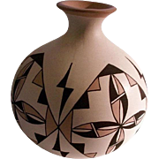 Acoma Signed Seed Pottery Hand Painted Geometric Symbolism.