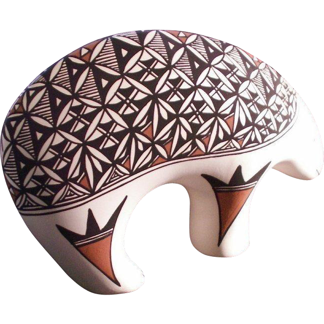 "Pottery Acoma Pueblo Figurative ""Bear"" New Mexico"