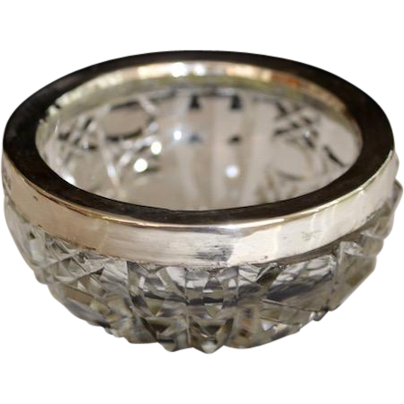 Antique Birmingham Sterling Brilliant Cut Crystal Salt Cellar 1903