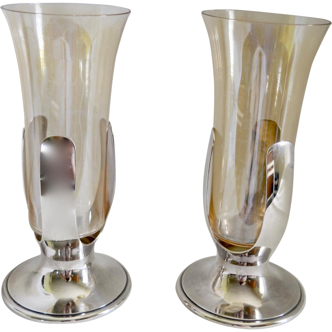 Pair 1930's Tiffany & Co Handblown Amber Glass & Silverplate Trumpet Vase