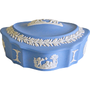 Wedgwood Blue Jasperware Bisque Trinket Dresser Jar