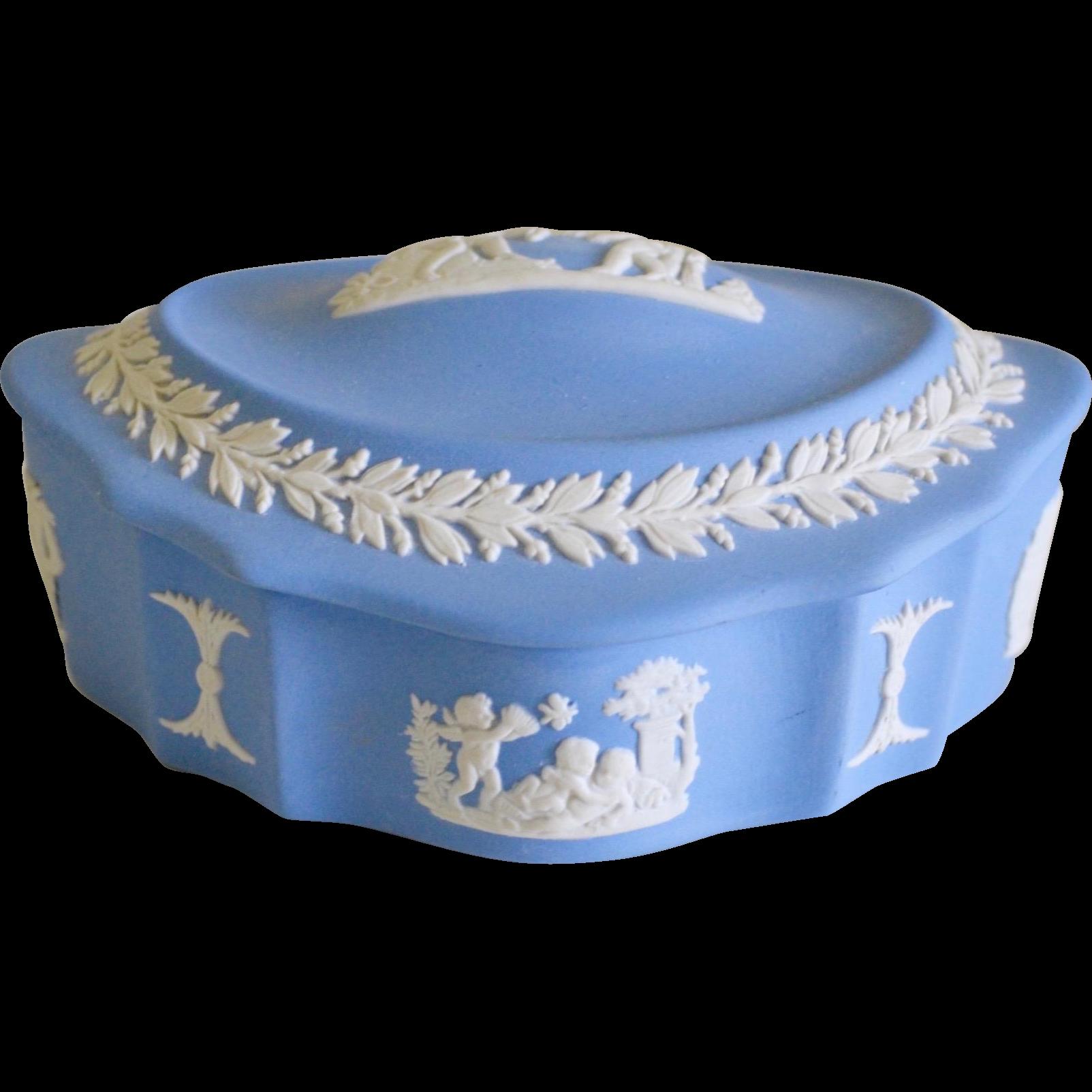 Wedgwood Blue Jasperware Bisque Trinket Dresser Jar