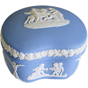 Wedgwood Blue Jasperware Domed Heart Trinket Box