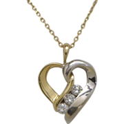 CLASSY! 14K Two Tone Gold Heart Pendant and Chain 3=.30cttw Diamonds