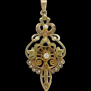 LARGE!  Art Nouveau Era Lavalier,  14K, Seed Perls & Old Euro Diamond,