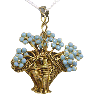 """From ART NOUVEAU ERA, 18KYG Hand Crafted  Wire """"Basket"""" of Enamel Flowers Pendant"""