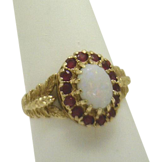 Mid Century (or older) 10KYG Opal with Ruby Halo Ladies Ring, Lovely Details!