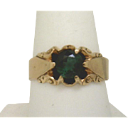 Mid Victorian Gents Ring 14K Rosey-Yellow Gold with Tourmaline