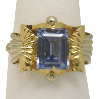 SUPERB! Retro Era (30'-40's) 18KYG/WG Ring with Emerald cut Blue Spinel, VERY UNIQUE!
