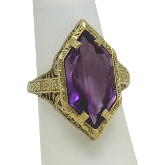 "STUNNING! Art Nouveau 14KYG Filigree ""Pentagon Marquise"" Amethyst Ring By Bellais"