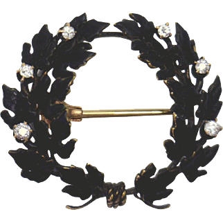EXQUISITE!  14K Victorian Black Enameled Mourning Pin w Diamonds & Watch Hanger
