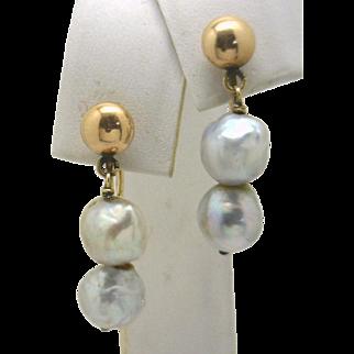 Lovely Vintage 14KG Screwback Drop Earrings with Grey River Pearls
