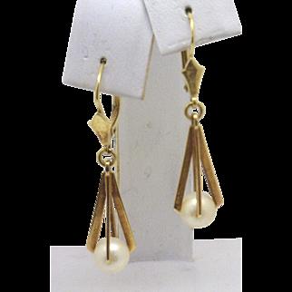 """""""GROOVY""""!!  Vintage 14KYG """"Caged"""" Pearl Dangle Earrings c. 1960's"""