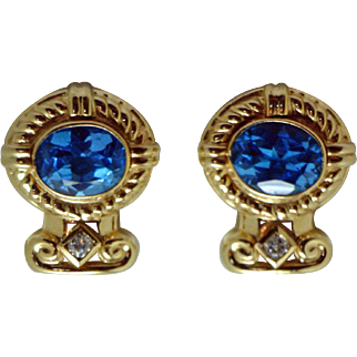 """Gorgeous """"Etruscan Style"""" Earrings with Large Vibrant Blue Topaz & Diamonds"""