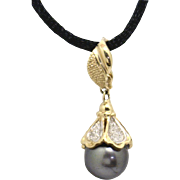 Glamourous 14KTT 10mm Black Akoya Tahitian Cultured Pearl Estate Pendant