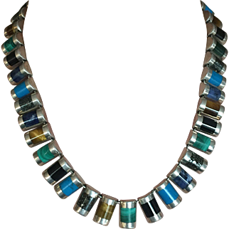 HEAVY! Sterling Silver Necklace with Custom Cut Gemstones, Excellent Estate!