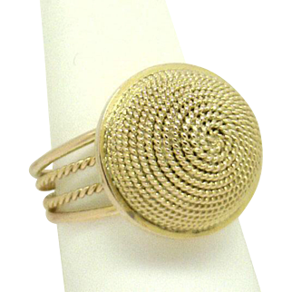 """FUN & FUNKY! 14KYG Circle Dome of """"Ropes"""" Ring, Excellent Estate"""