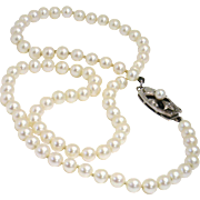 STUNNING Vintage Strand of MIKIMOTO Pearls, 4.5-4.0mm Sterling Clasp, GORGEOUS!