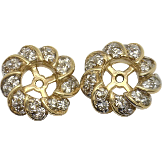 """BEAUTIFUL Estate 14KYG """"Swirled"""" 1ctTW Earring JACKETS-Dress up your studs!"""