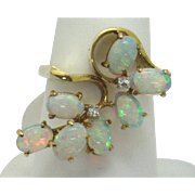 FUNKY FUN! 14KYG Fiery Opal & Diamond Ring c. 60's-70's