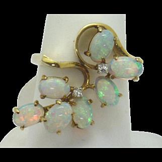 FUNKY FUN! 14KYG Fiery Opal & Diamond Ring c. 60's-70's