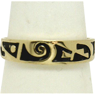 UNIQUE 14KYG Matte Enamel Band with writing? or Design? Stackable