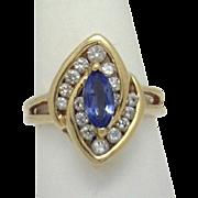 Unique Design! Vintage 14KYG Marquise Tanzanite with 2/3ct+TW Diamond Ring