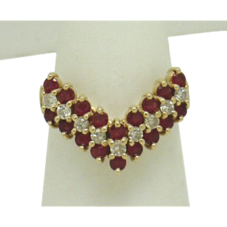 "14KYG Chevron (""V"") Shaped Ruby & Diamond Vintage Ring"
