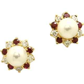 High End! 18KYG Akoya Cultured Pearl, Diamond & Ruby Earrings by Jabel