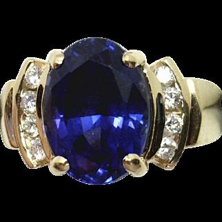BEAUTY! 14KYG 4.79ct GEM Tanzanite & Diamond Ring - Estate, Excellent Condition!