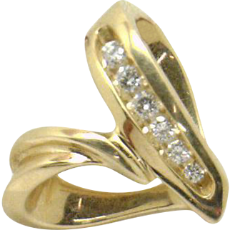 "Estate ""Modern"" Style 14KYG .18ctTW Diamond Heart Pendant--Wear Two Ways!"