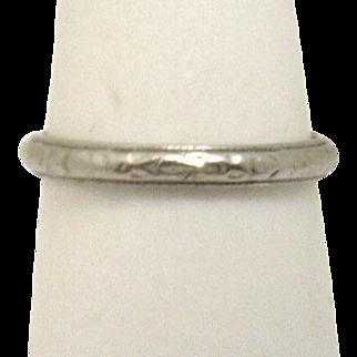 Delicately Engraved Platinum Eternity Wedding Band from 1947